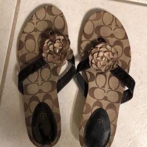 Coach sandals brown/ beige